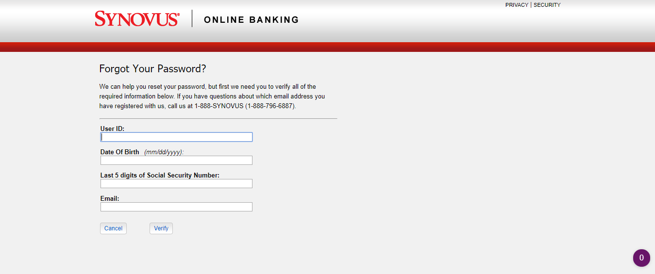 Synovus Online Banking Forgot Password