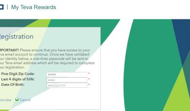 My Teva Rewards registration