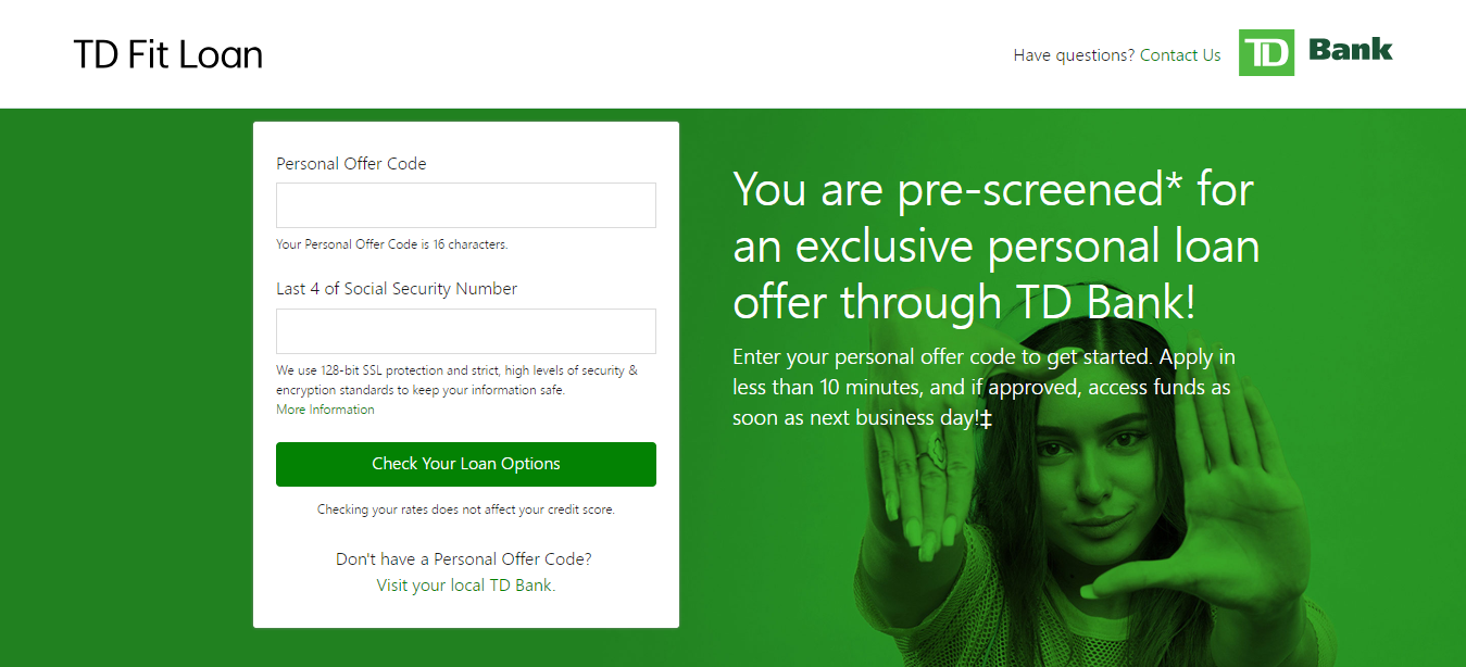 www tdfitloan com/myoffer - Apply for TD Fit Personal Loan