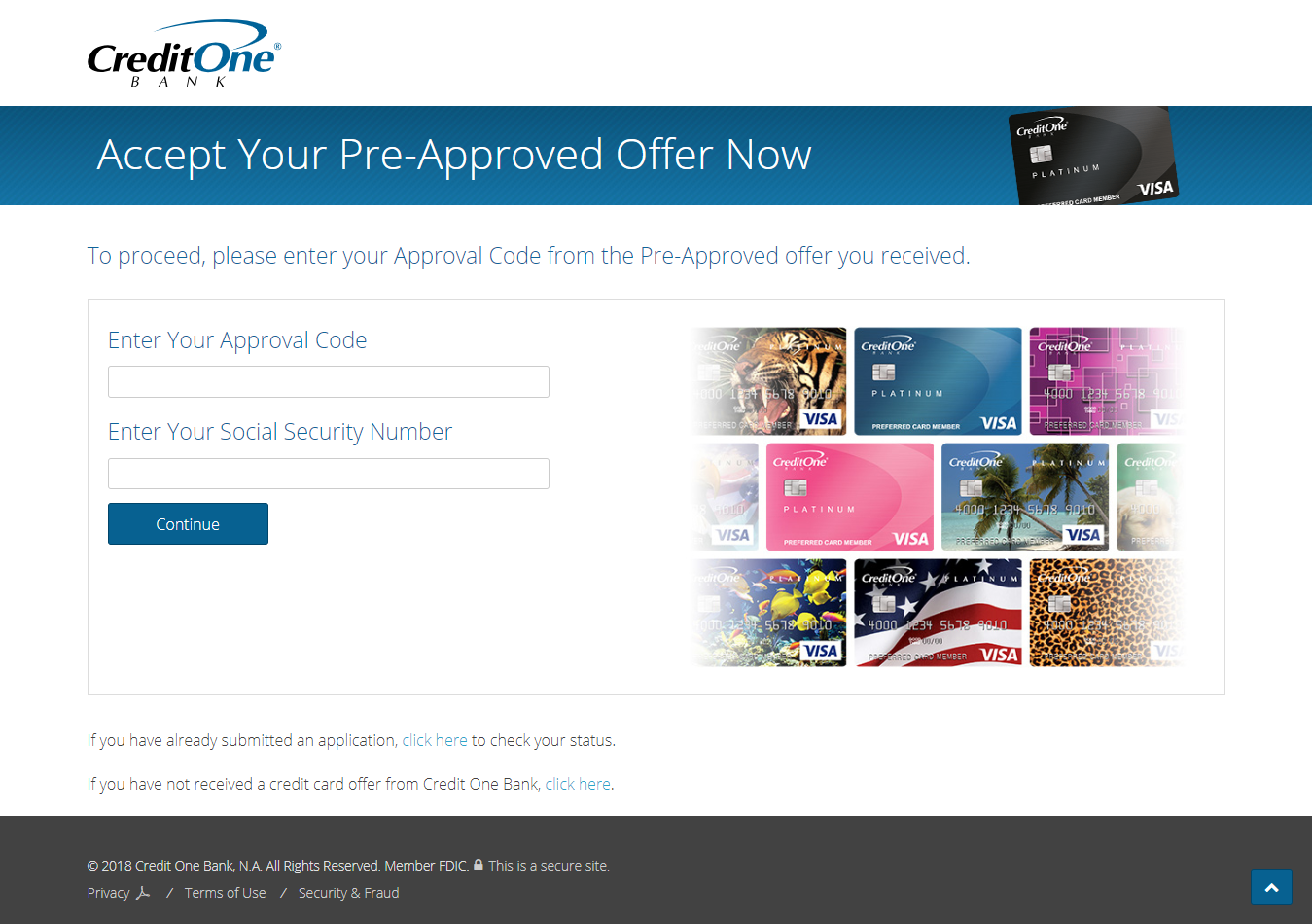 Accept Your Pre Approved Credit Card Offer