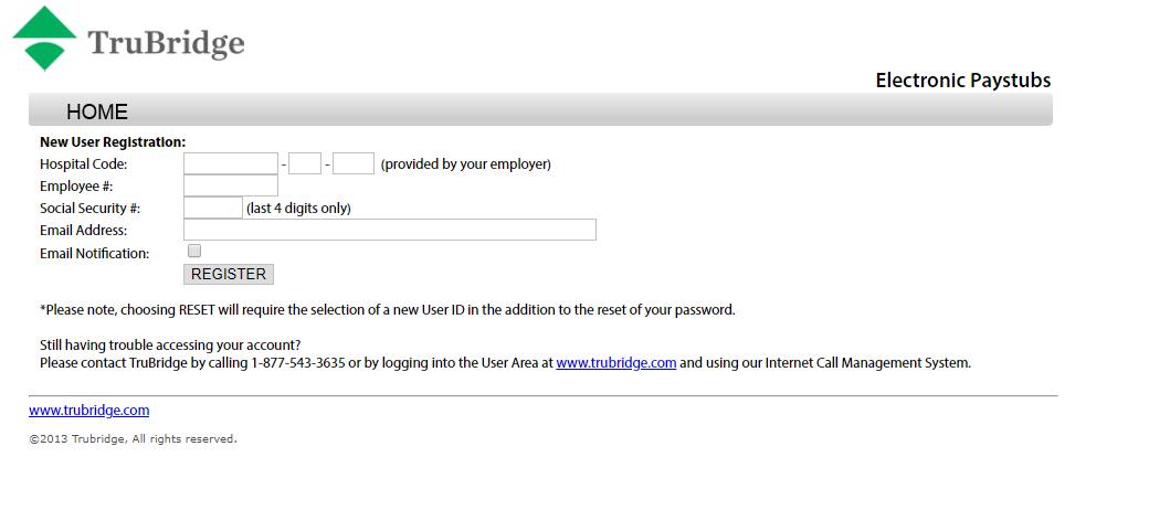 Electronic Paystubs password reset