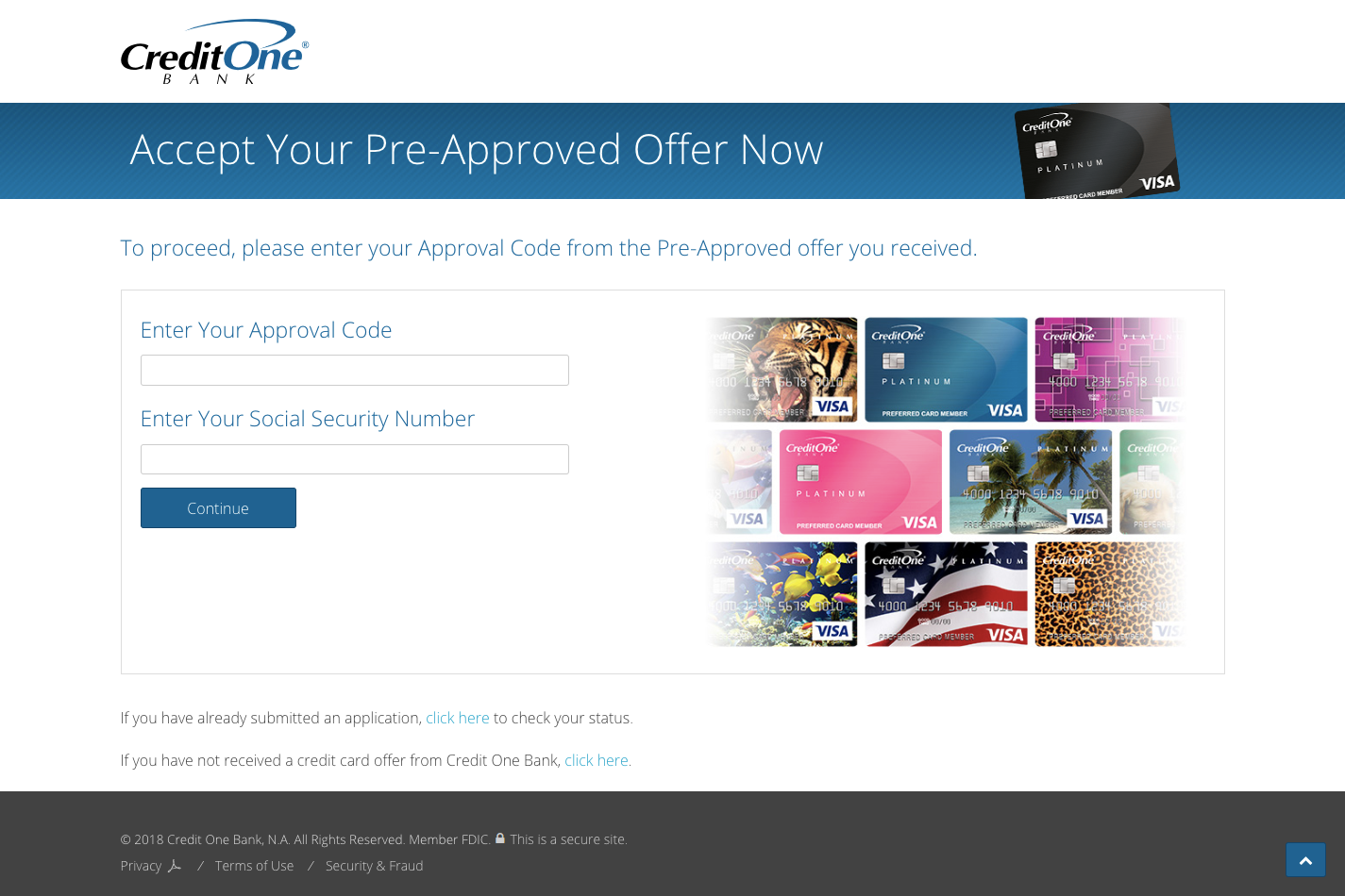 Accept Your Pre Approved Credit Card Offer Credit One Bank