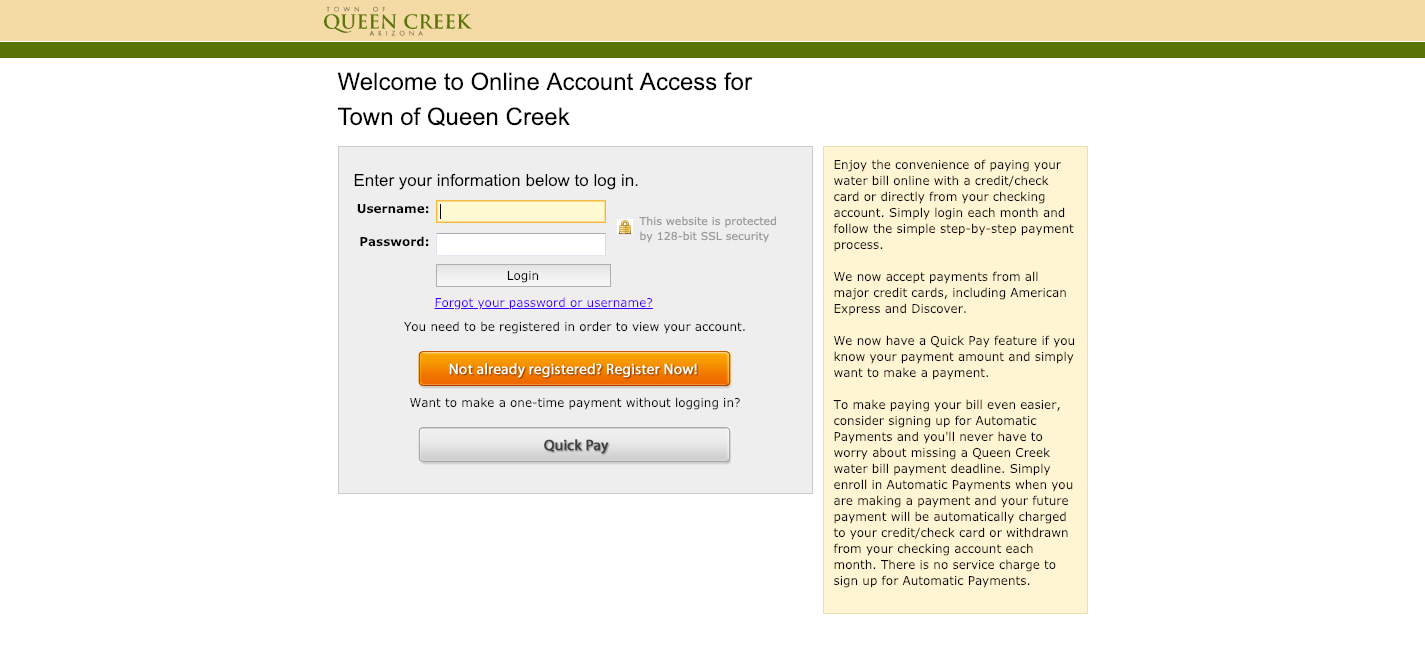 www queencreek org/payyourbill - Town of Queen Creek Water