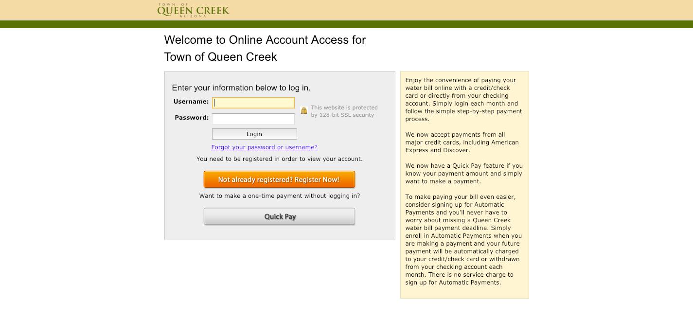 www queencreek org/payyourbill - Town of Queen Creek Water