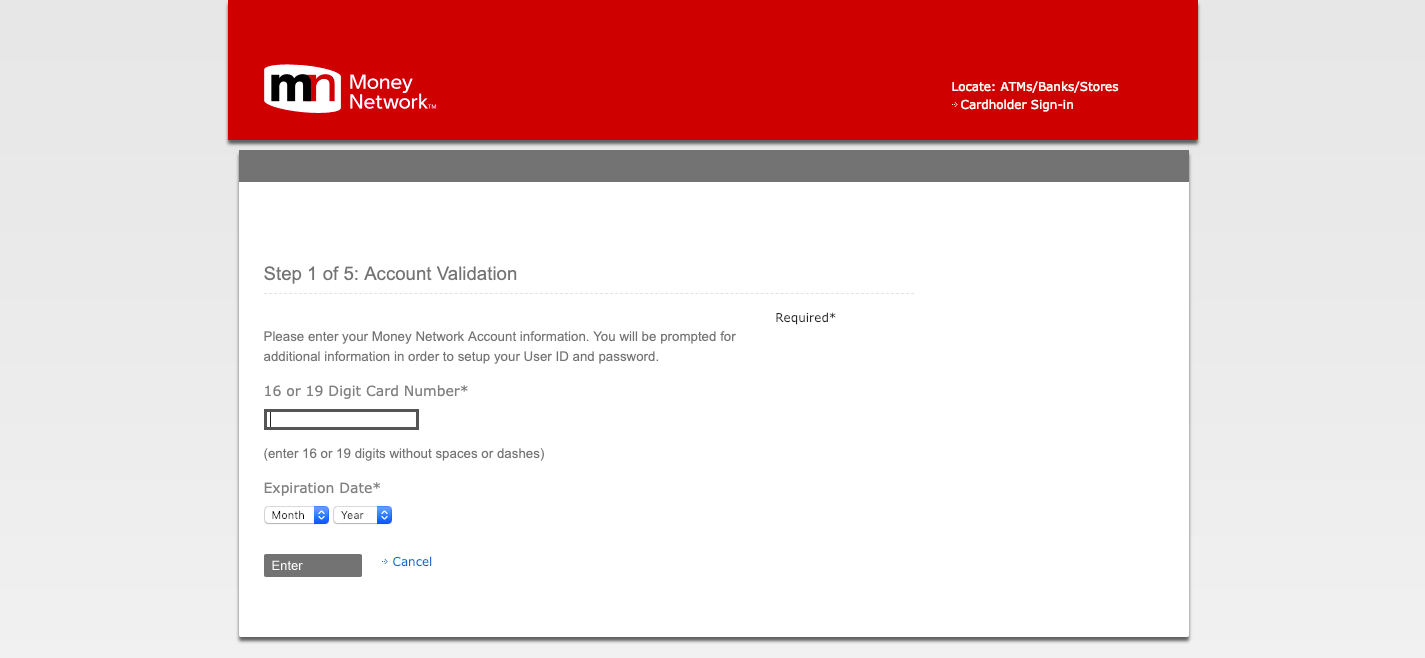 money network Account Validation