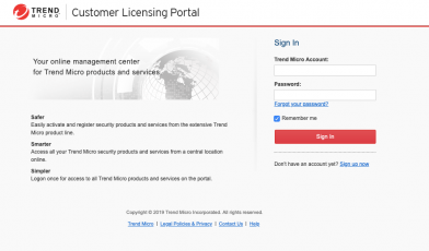 Trend Micro™ Customer Licensing Portal