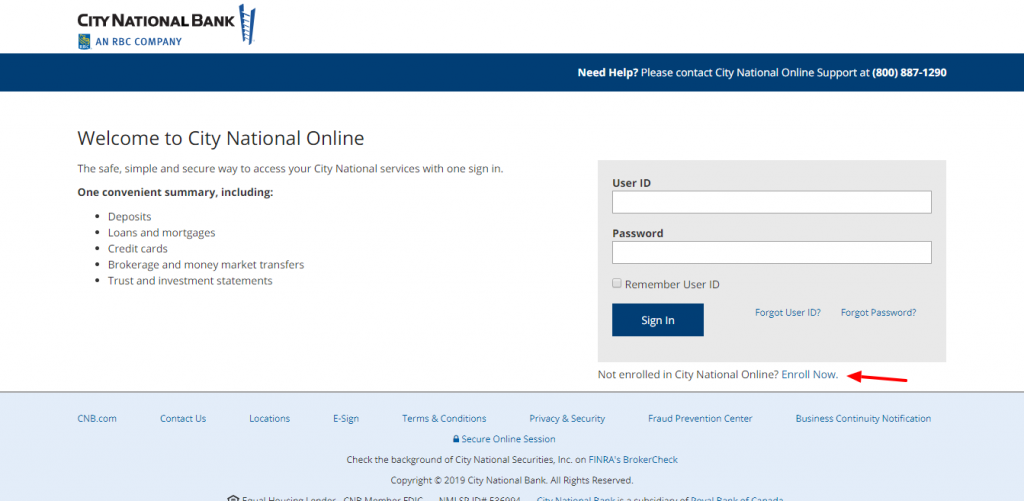 City National Online Login Page