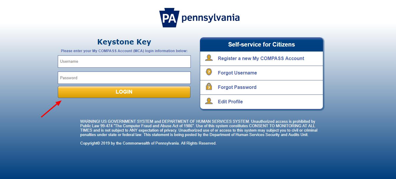 PA Pennsylvania Keystone Key Login Page