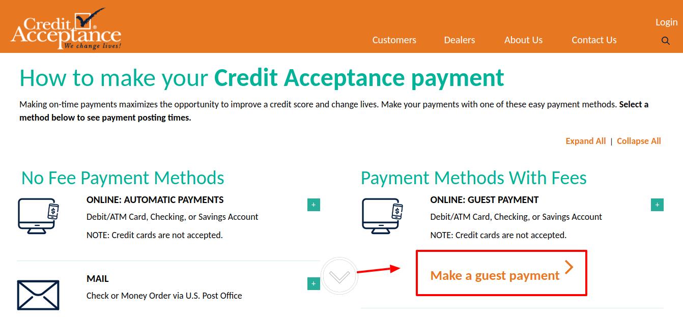 Credit Acceptance Make A Guest Payment