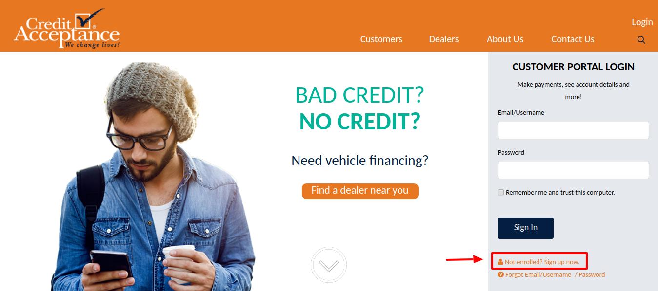 Credit Acceptance Sign Up