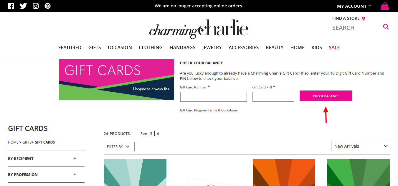 Gift Cards Charming Charlie Check Balance