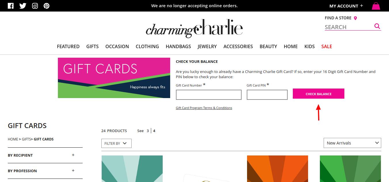 Gift Cards Charming Charlie Check Balance