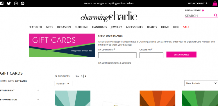 Gift Cards Charming Charlie Logo