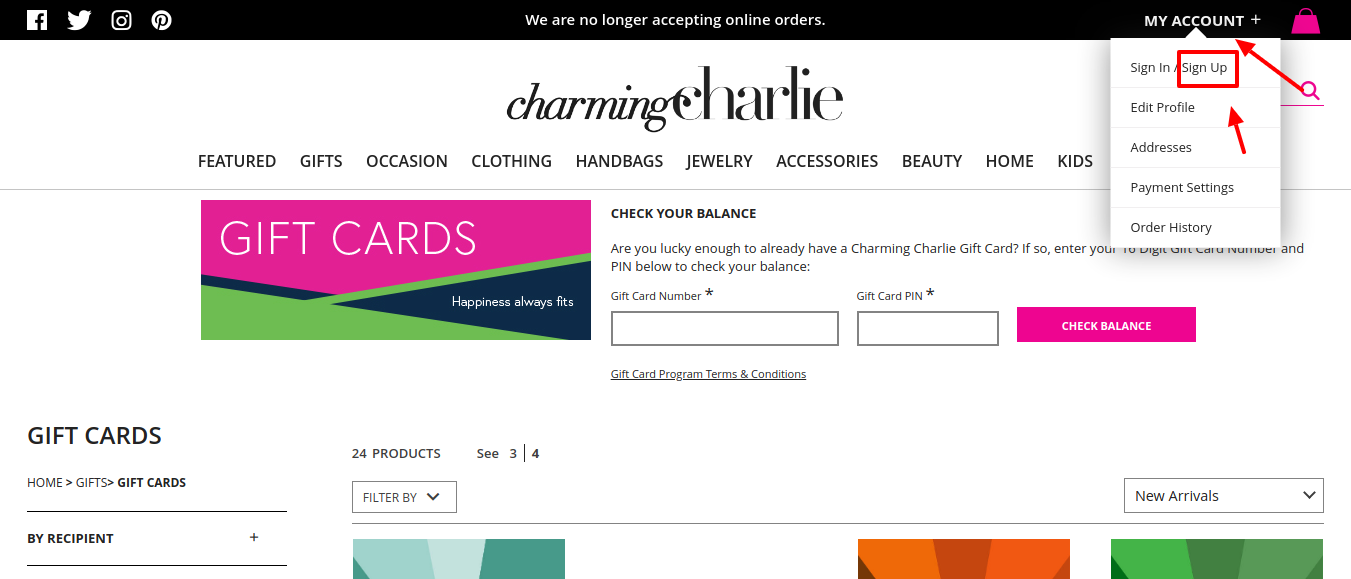 Gift Cards Charming Charlie Sign Up
