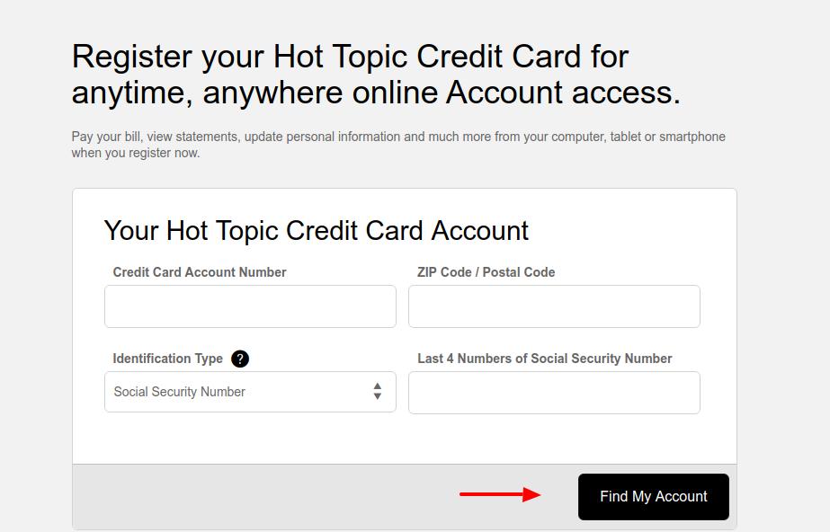 Hot Topic Credit Card Register