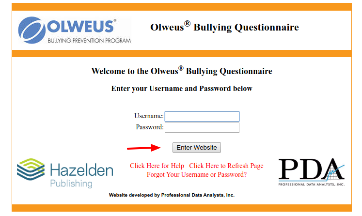 Olweus Bullying Questionnaire-Login