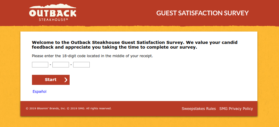 Outback Steakhouse Guest Satisfaction Survey