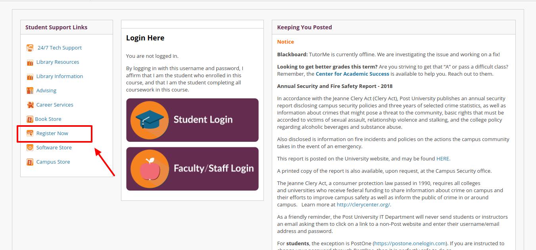 Post University Blackboard Register