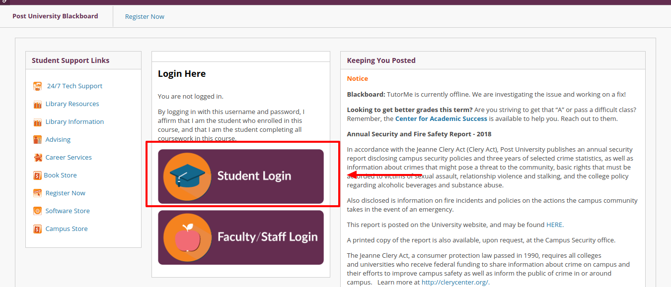 Post University Blackboard Student Login