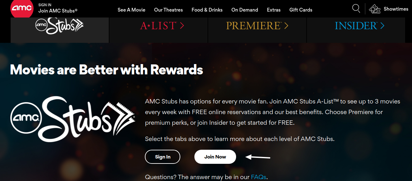 AMC Stubd Join Now