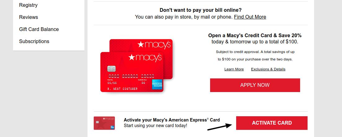 Macs Credit Card Activate