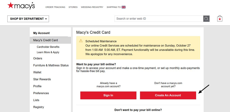 Macy's Credit Card Create Account