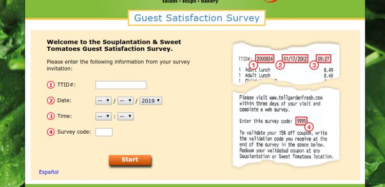 Souplantation Guest Satisfaction Survey