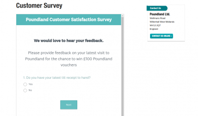 Customer Survey Poundland