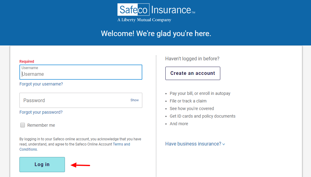 Log in to your Safeco account
