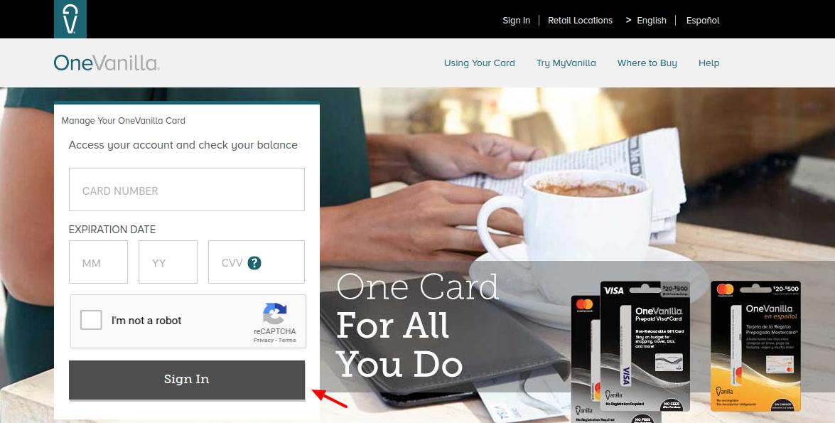 onevanilla.com - Access To One Vanilla Prepaid Card Account