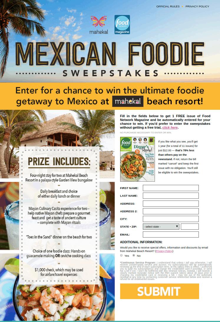 Mexican Foodie Getaway Sweepstakes