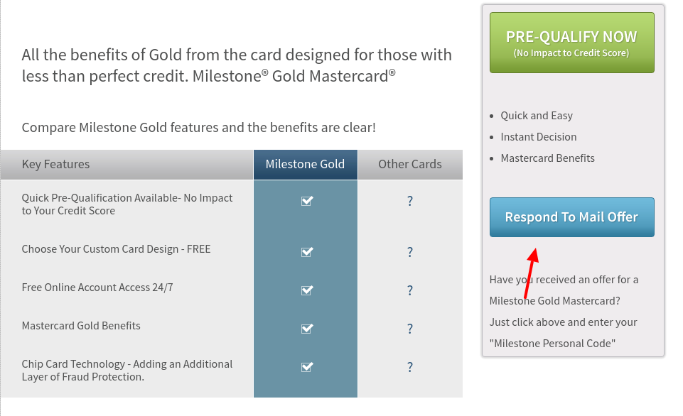 Milestone Gold Mastercard Mail Offer