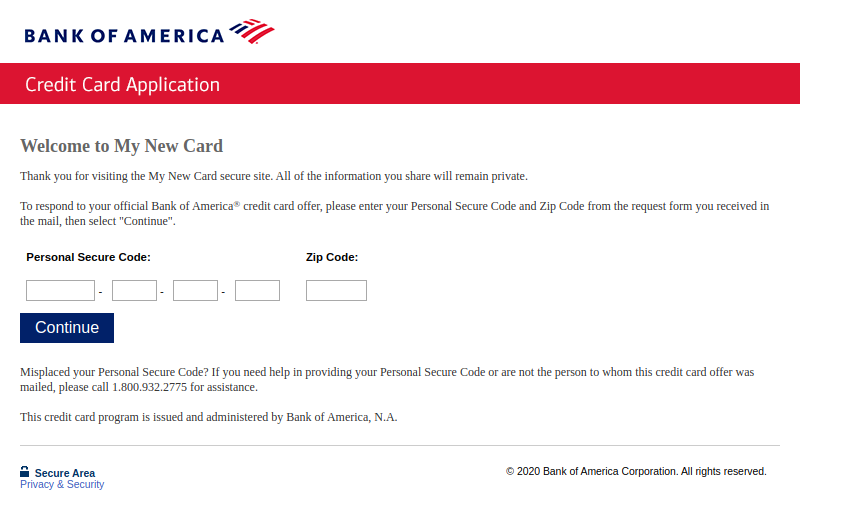 Bank of America New Card Apply