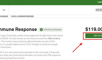 COVID-19 Immune Response testing kit online