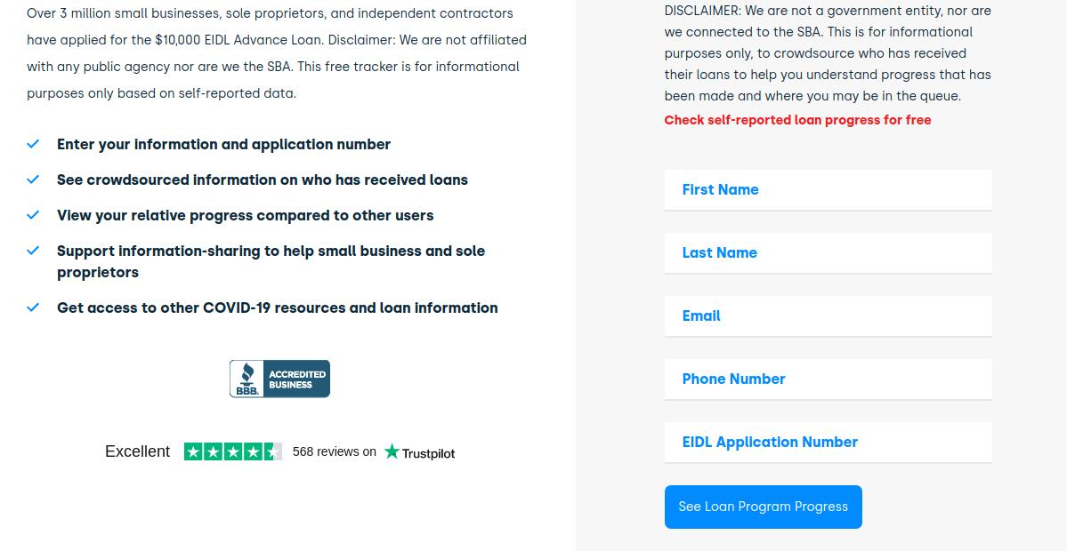 check loan status online of SBA