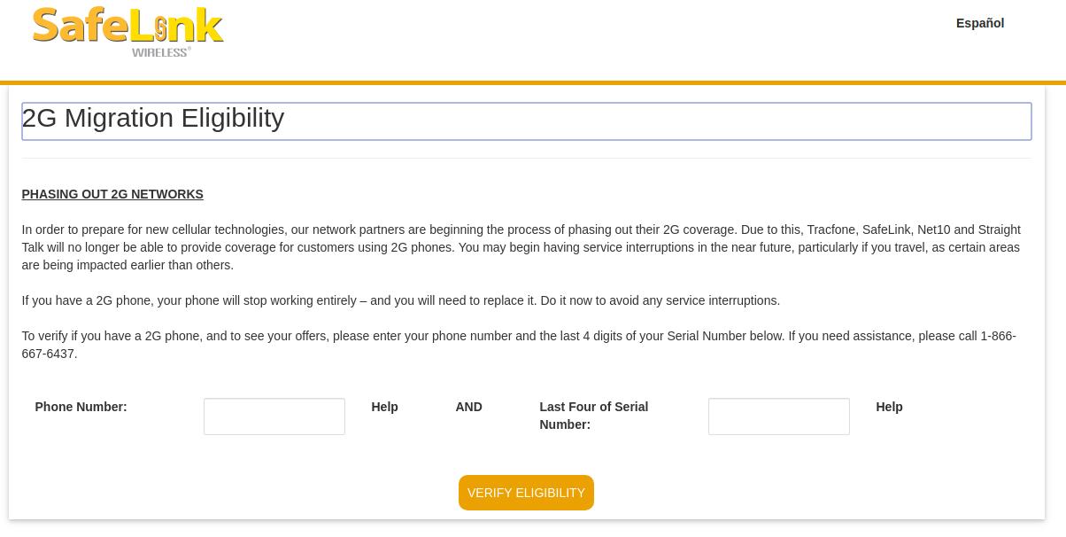 SafeLink 2G Migration Verify