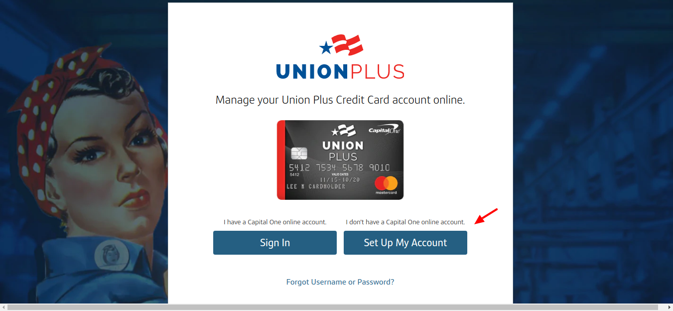 Union Plus Credit Card Set up Account