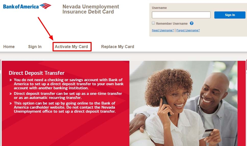 activate your Nevada Unemployment Insurance debit card copy