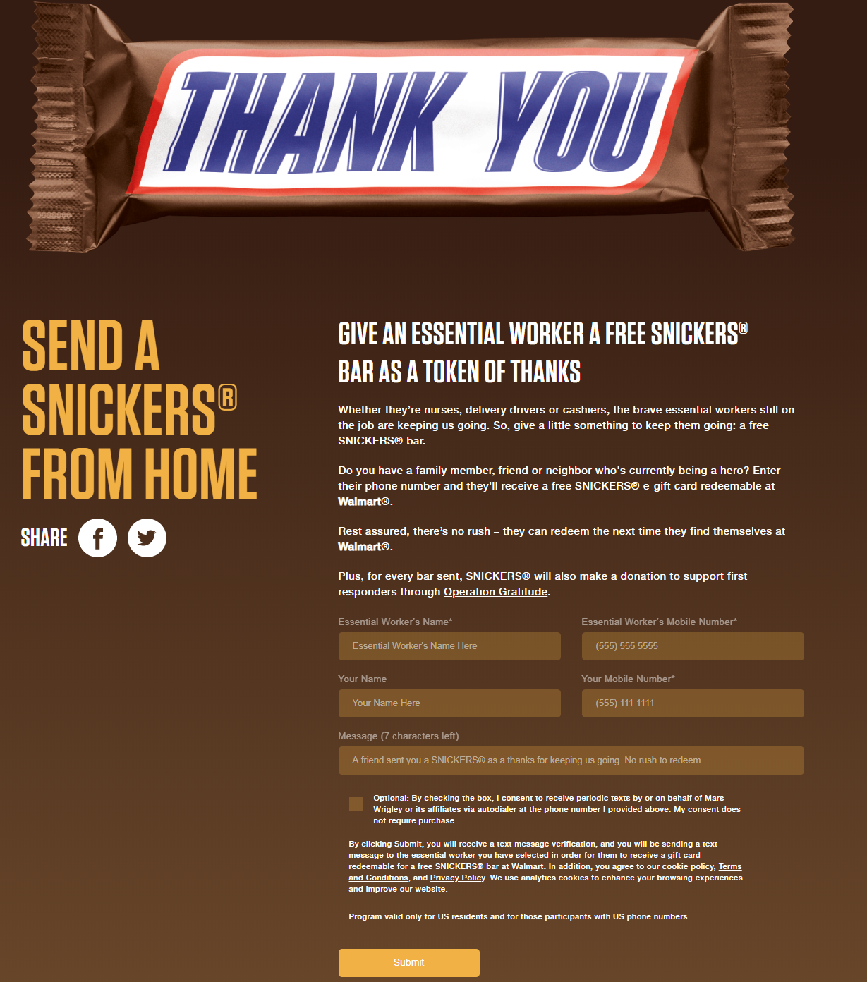 participate in the Send a Snickers from the Home promotion: