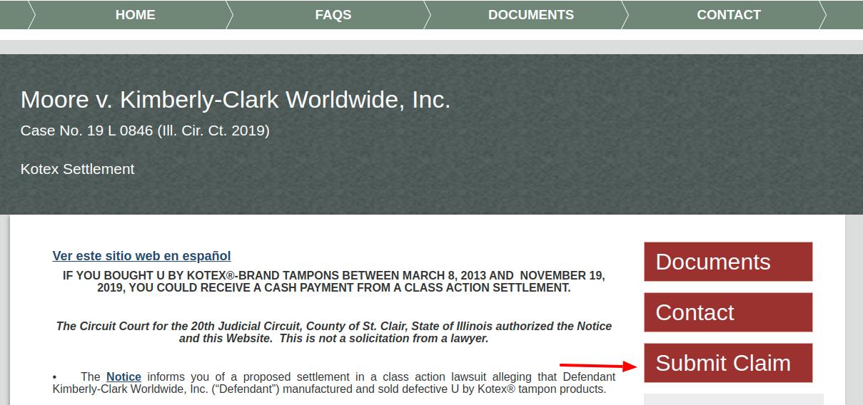 Moore v Kimberly Clark Submat Claim