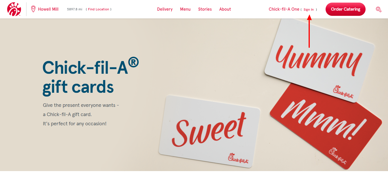 Chick fil A gift card sign in