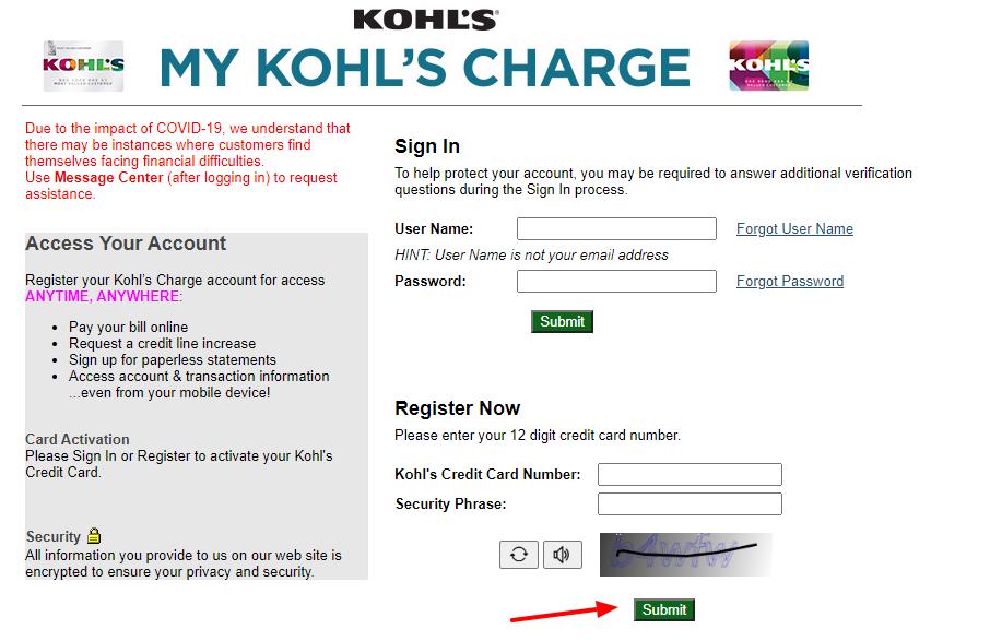 Kohls Charge Register