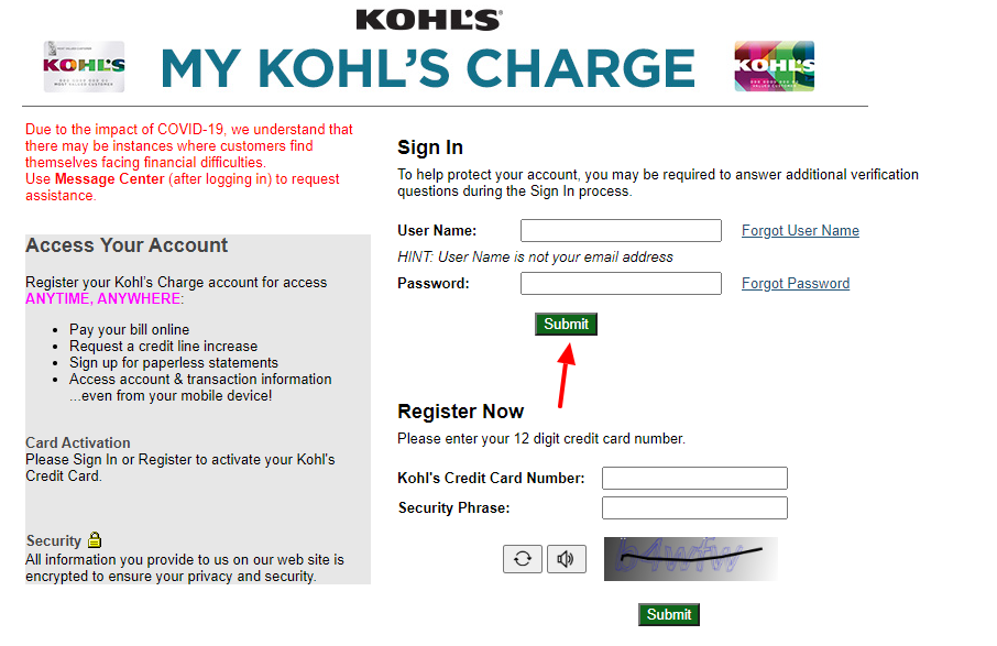 Kohls Charge Sign In