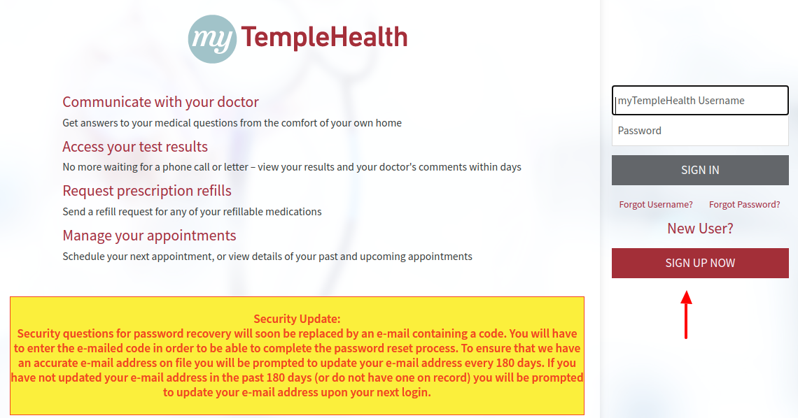 myTempleHealth Sign Up